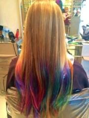 salon ombre rainbow hair wavy