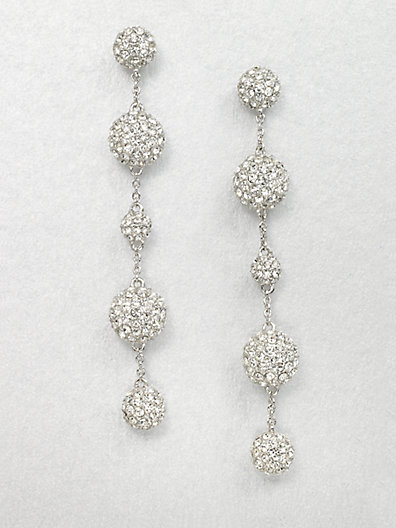 zsazsasitlist:</p> <p>DESIGNER: ADRIANA ORSINI<br /> SEE DETAILS HERE:  Crystal Accented Five Ball Drop Earrings<br />