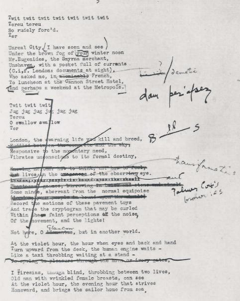 TS Eliot, The Waste Land, manuscript