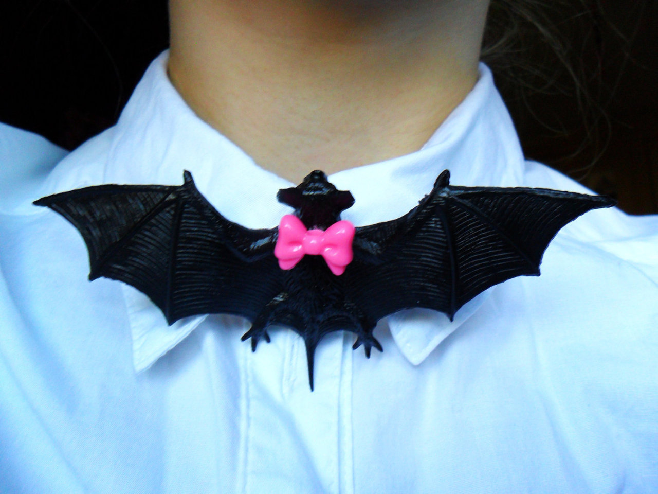 DIY novelty Bat Pin worn as a bowtie, I am so doing this!
