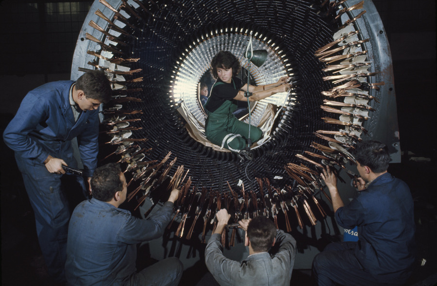 A female worker helps insulate wires on a large generator in Czechoslovakia, February 1968.Photograph by James P. Blair, National Geographic