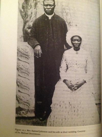 Samuel Johnson (1846-1901) and his wife.Rev. Samuel Johnson was an Anglican priest and historian of Yoruba descent and is most noted for his manuscript, The History of the Yorubas<br /><br /><br /><br /><br /><br /><br /><br /><br /> More Vintage Nigerian photos
