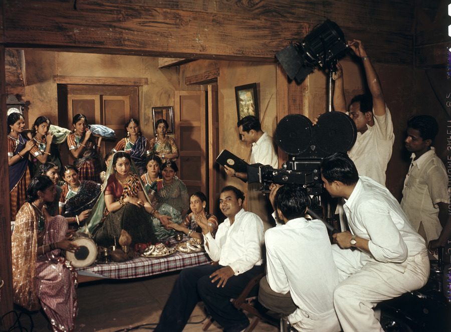 "An Indian movie crew filming a wedding scene at ""Famous Studios"" in Bombay, March 1948.Photograph by Volkmar K. Wentzel, National Geographic"