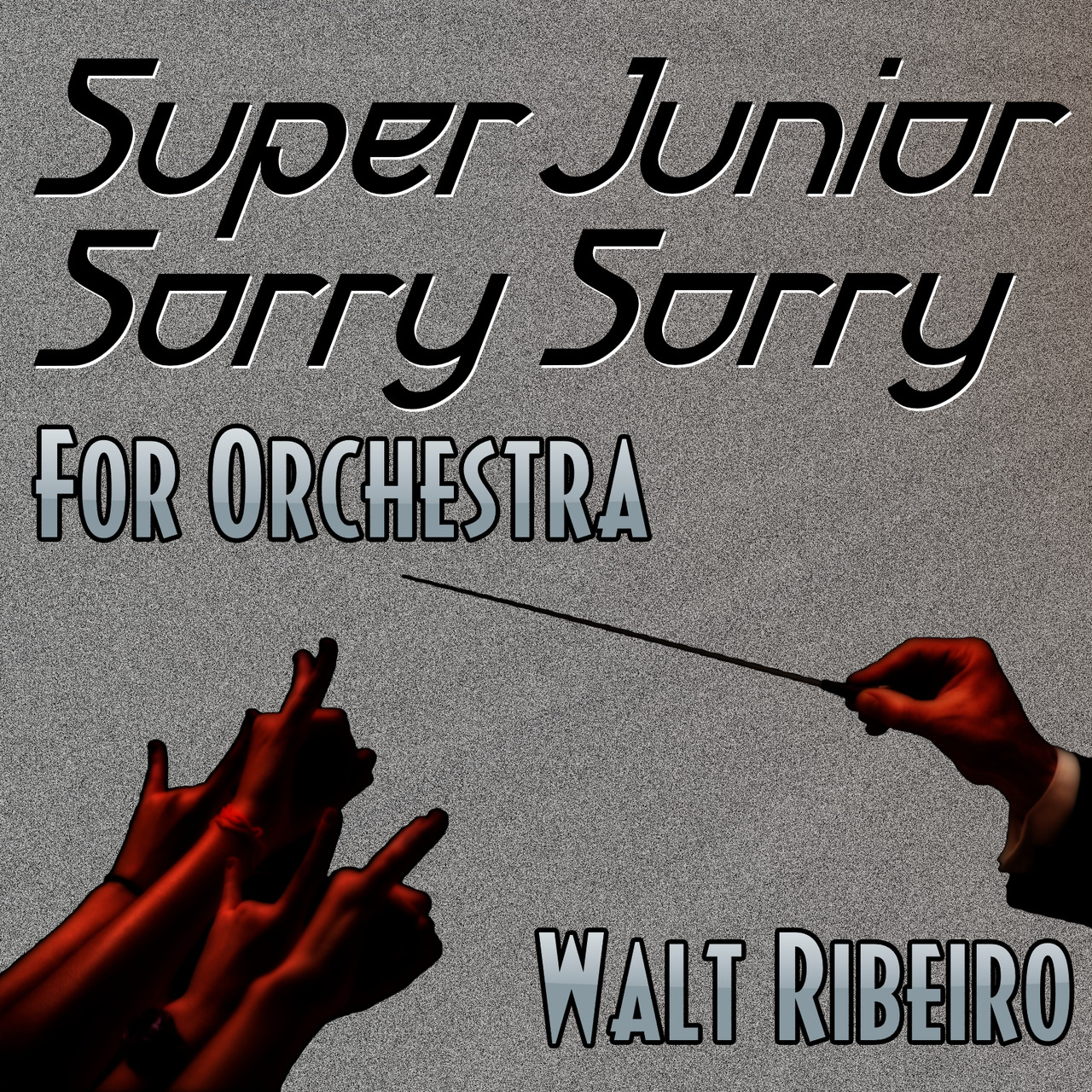 This week's piece: Super Junior 'Sorry Sorry' For Orchestra. For my 3rd Kpop tribute, I played off of the black/white/gray from Super Junior's color scheme that is seen in their videos and artwork. To offset the 3-color design, I added a warmth of dark red - a emotional color that, appropriately for this arrangement, symbolizes infatuation, passion, and vitality.