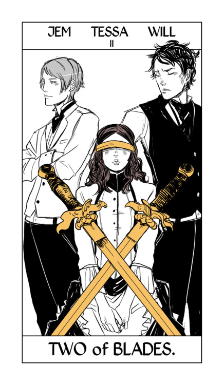 "This seemed appropriate today. The two of blades/swords from Cassandra Jean's Shadowhunter Tarot, representing ""an impossible choice."""
