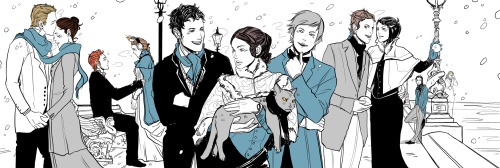 Taking a break briefly from the tarot card project, I asked Cassandra Jean to draw the four seasons as the four Shadowhunter series I have either written or planned right now — The Mortal Instruments, The Infernal Devices, the Dark Artifices, and The Mysterious TLH. Here The Infernal Devices takes the season of winter. From left: Gideon, Sophie, Henry, Charlotte, Will, Tessa, Church (in a bad mood!) Jem, Gabriel, Cecily, and in the background, Magnus and Jessamine. The Mortal Instruments being Fall here.