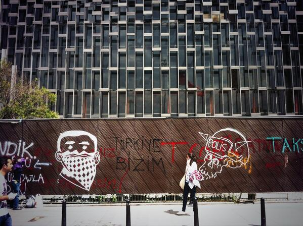 Wall art in Taksim, in front of Ataturk Cultural Center -a building PM Erdogan vowed to demolish.