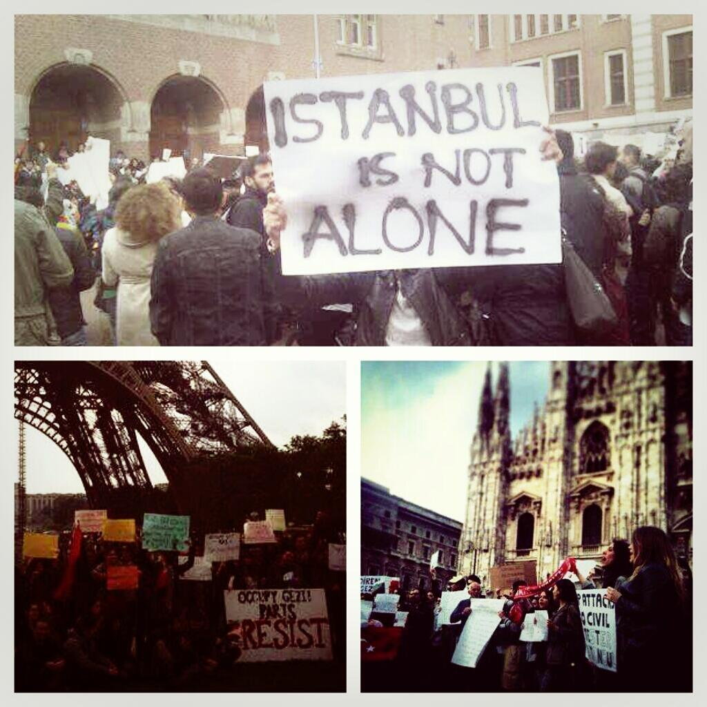"""Solidarity with Istanbul and #direngeziparki from around the worldbrightsips:(via Twitter / partyhardnico: Tüm dünya bizimle …)Translation: """"The whole world is with us"""""""