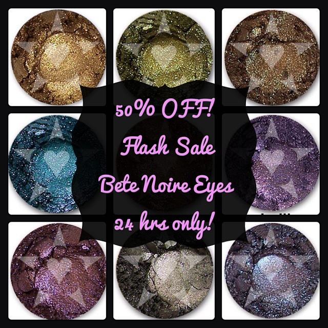 #flashsale 50% off Bête Noire eyeshadows! All colors on sale. 24 hours only. Shop www.aromaleigh.com Thursday deal. Samples are on sale also! Just .50 cents each! #eyeshadow #mineralmakep #mineralcosmetics #flashsale #aromaleigh #noir #gothic #dramatic