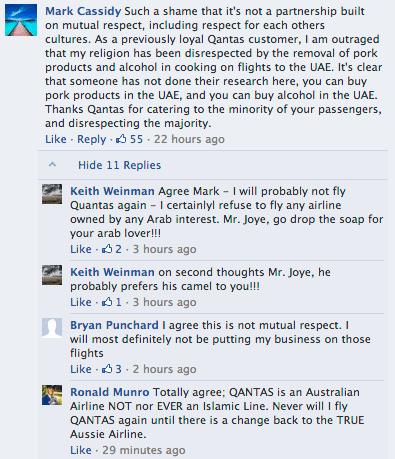 'Loyal Quantas customers.' Extra credit: bestiality jokes.