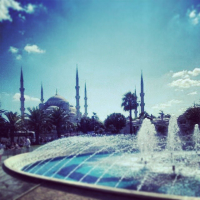 Blue Mosque x #Turkey #Istanbul #Summer2013 #TakeMeBack #SultanAhmetSquare #Blue Mosque #Fountain #Blue #Sky #Water #Mosque #Clouds #Hot #Beautiful