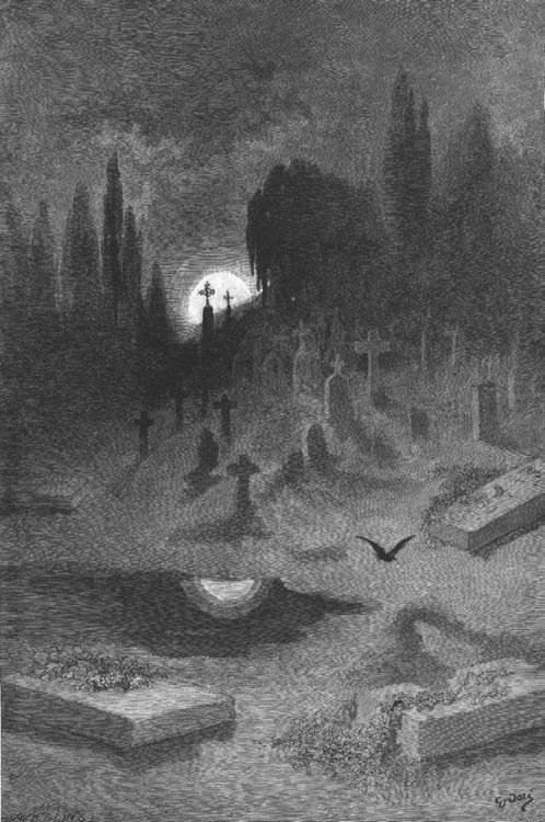 sailorplacide:</p> <p>Gustave Doré~ illustration for Edgar Allen Poe's The Raven published in 1884<br /> Poe at his best<br />