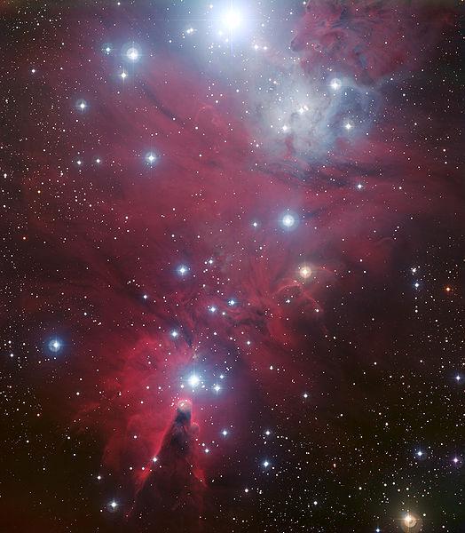 """Scoperta da William Herschel nel 1784, NGC 2264 è un brillante ammasso aperto nella costellazione dell'Unicorno, conosciuto anche come """"Nebulosa del Cono"""" per via della curiosa struttura in evidenza in basso nella fotoSituato nella costellazione dell'Unicorno, colpisce la presenza di circa una ventina di stelle – qui indicate in blu - dominato dalla stellaS Monocerotis e disposte a triangolo con il vertice puntato verso sud. Nell'emisfero australe questa particolare configurazione assume la forma di unAlbero di Natale; nel vertice meridionale dell'ammasso è presente una struttura nebulare a forma di cono che ha dato il nome all'ammasso. Probabilmente la forma a cono è generata dai continui flussi di gas e polveri che, essendo soggetti alla gravità delle stelle, formano vere e proprie tempeste spaziali. (Photocredit: ESA/NASA)."""