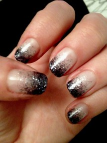 Pink and Black Glitter Ombre Nails