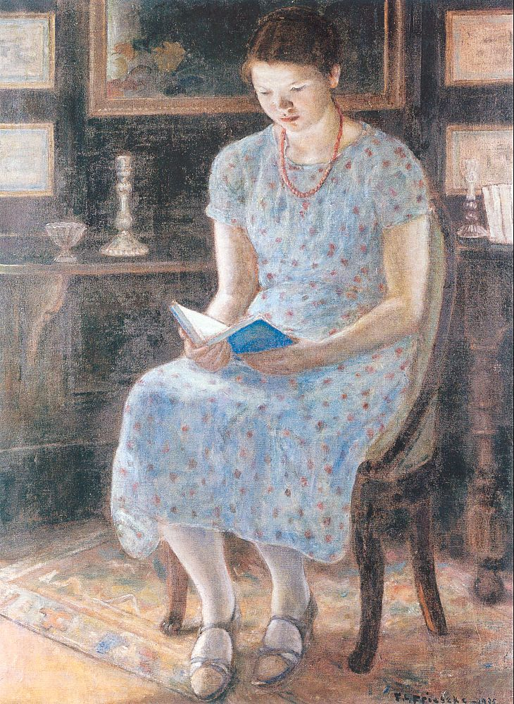 Blue Girl Reading (1935). Frederick C. Frieseke (American, 1874-1939). Oil on canvas.