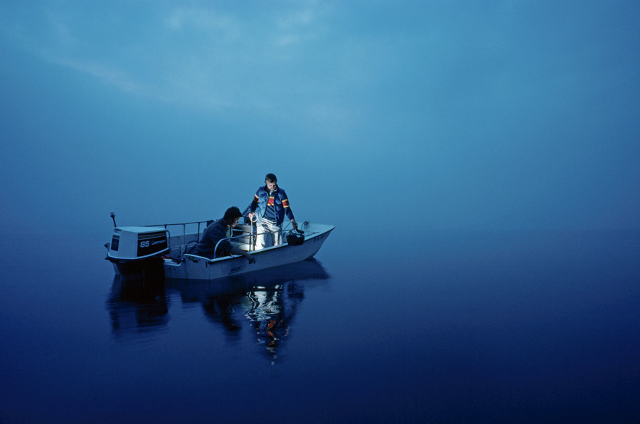 Scientists take samples to study radioactive discharges in the Susquehanna River in Maryland, March 1985.Photograph by William T. Douthitt, National Geographic