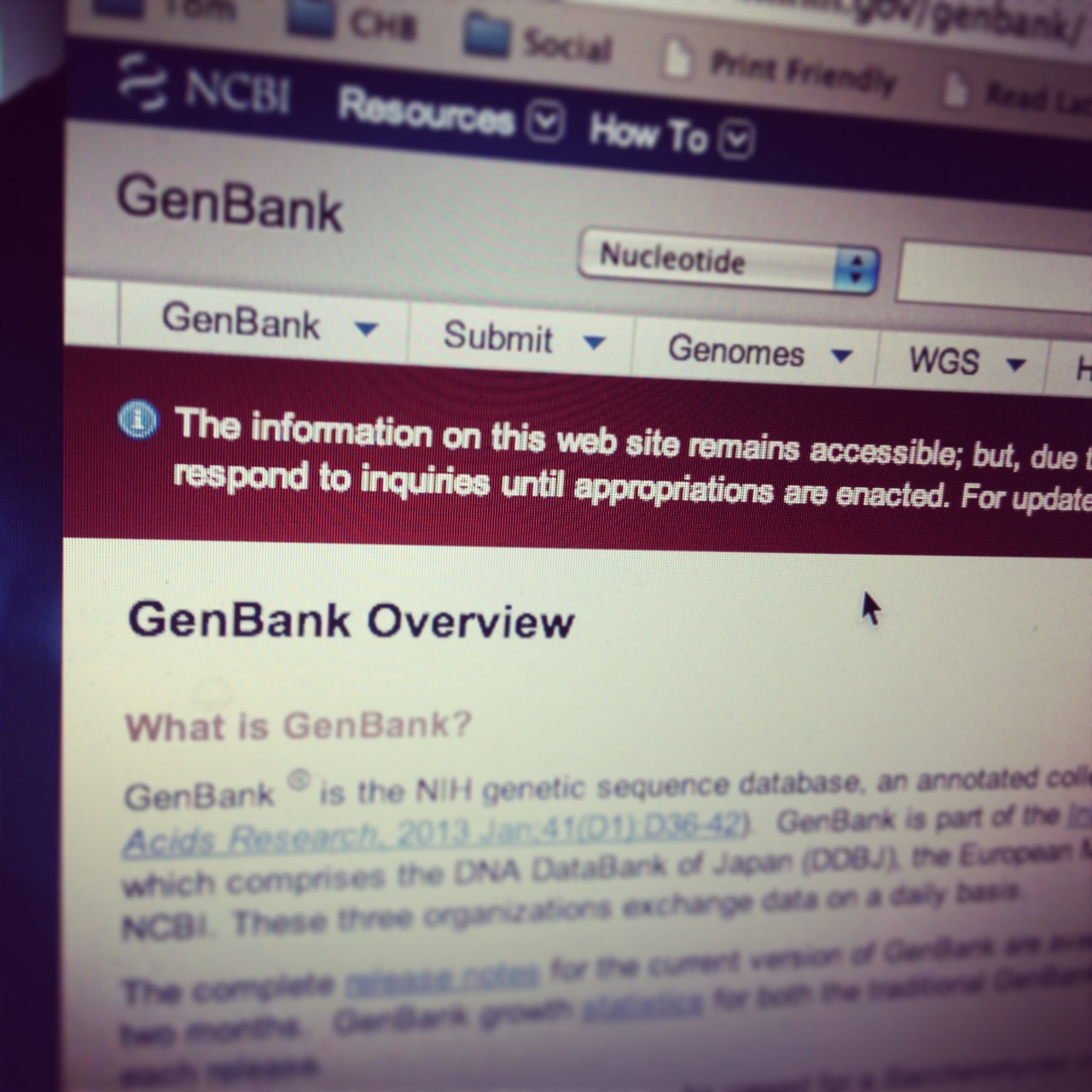 GenBank home page government shutdown