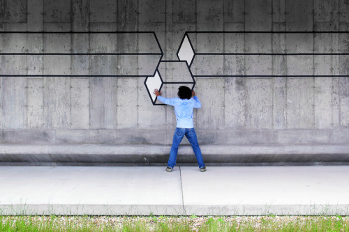 """Drop"" by Aakash Nihalani  tape installation at the Parrish Art Museum"