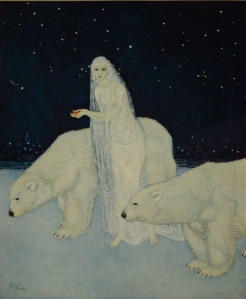 """zuppadivetro:  madame0:  """"Everything about her was white,glistening and shining…""""- The Dreamer of Dreams by the Queen of Roumania Edmund Dulac - (1915)"""