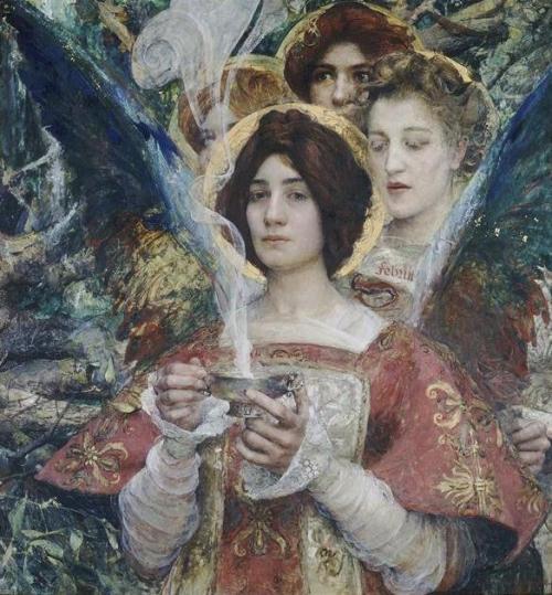 """L'Âme de la Forêt, Edgar Maxence, 1898. Puisqu'on se promène -encore- dans la forêt, régalons-nous de ce tableau d'un maître symboliste.  Edgar Maxence, peintre breton, était un passionné de ce qu'on appelle précisément """"la matière de Bretagne"""", c'est-à-dire, de toutes les légendes arthuriennes qui racontent, au-delà de l'histoire du Roi, les fées et leurs pouvoirs. Qui sont-elles ici? Détiennent-elle le fameux Graal? Peu m'importe. Ce que j'aime par dessus tout dans ce tableau, c'est le regard de celle qui tient la coupe aux volutes. Elle nous regarde avec une expression impénétrable, d'un regard doux et sage, peut-être un peu triste. Sa bouche, légèrement pincée, confère une certaine solennité à la scène. Mais on dirait qu'elle n'est pas vraiment là. Elle est peut-être lasse de son secret, lasse de ses pouvoirs. Elle (dé)tient la coupe, mais elle n'en a que faire désormais. Ses ailes lui pèsent. Elle me semble fatiguée de son rôle et de sa sagesse."""