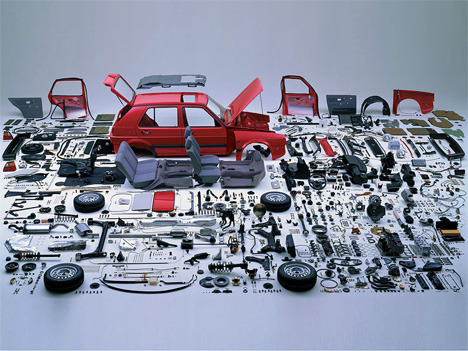 whoa!There's something truly appealing about seeing every last little piece of a car deconstructed and laid out neatly. Automobiles are fascinating machines, with tons of tiny pieces that do unexpected things, with each part serving a purpose. And knowing that every functional part of a car is the result of a century of hard work and refinement is kind of awe-inspiring. via