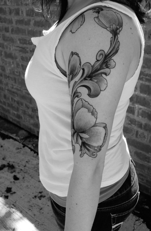 i got this tattoo two weeks ago for my birthday. i love vintage art and peonies and i took my inspiration to an amazing artist in atlanta and he created this for me. submitted by carrie