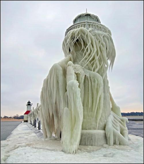 sunsurfer:  Ice Monster, St. Joseph Lighthouse, Michigan  photo by tomgill