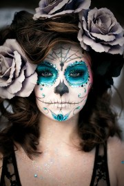 sugar skull makeup - blue #