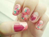 chibinails: girly floral nails i havent done in... | fuck ...