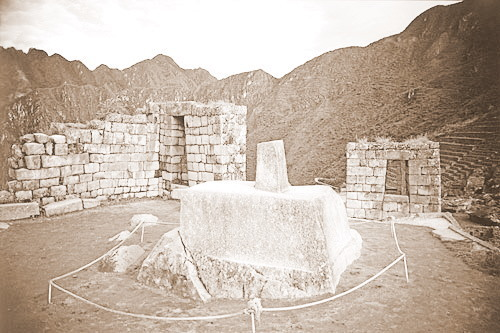 The Sun Praying Place inside Machu Picchu City, Peru - an Inca heritage