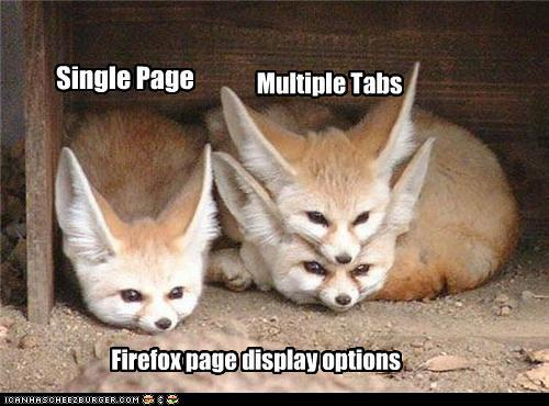 Firefox page display options