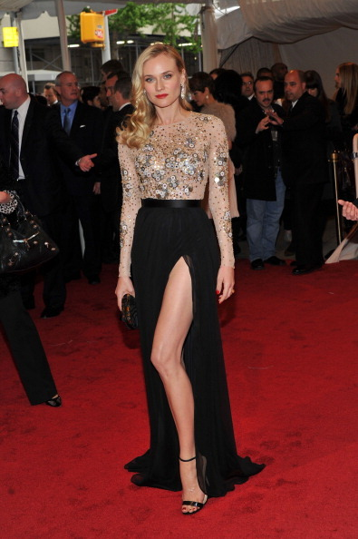 bohemea:</p> <p>suicideblonde:</p> <p>Diane Kruger at the Met Costume tonight wearing Chanel<br /> Look at all that leg!  Diane is, as always, fierce as fuck.</p> <p>Girl! You are too many things rolled into one sleek package of perfection.<br />