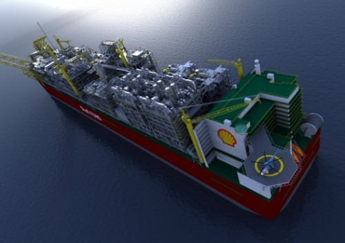 The World's Largest Man-Made Floating Object Being Made by Shell to Harvest Natural Gas from the Ocean.