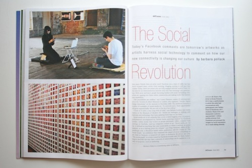 "hyperallergic:  Social Media Art's Social Revolution This month's ARTnews magazine includes an extensive feature by veteran arts writer Barbara Pollack on social media art. In her article, she features Hyperallergic's #TheSocialGraphexhibition and many of the artists in the show, including An Xiao, Jennifer Dalton, Benjamin Lotan of Social Printshop and Man Bartlett, whose ""#24hKith"" (2010) was performed in our offices at the end of November.  This is a fascinating read for anyone interested in understanding the emergence of social media art and how artists are using the medium to create work."