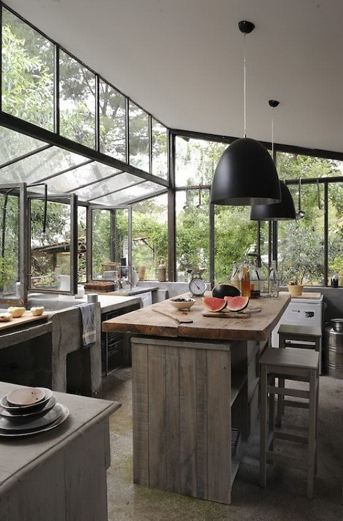 modern and rustic kitchen in the woods<br /><br /><br /><br /><br /><br /><br />