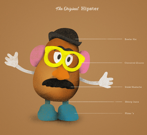 popculturecooking:  Mr Potato Head – The original hipster?Via designer Dev Guptas Flickr.