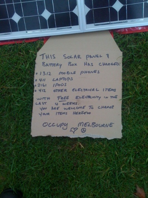 occupydownunder:  This solar panel & battery box has charged: 1312 mobile phones 411 laptops 2161 iPods 412 other electrical items  I love this solar panel :)