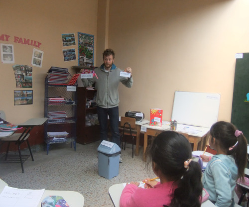 Matt Finch teaching students at San Domingo Savio School, Peru - April 2011