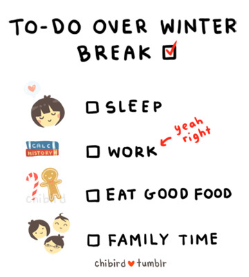 My winter break has officially started! And I'm going to get up ridiculously early tomorrow to visit family. (X Happy holidays you all! Hope to draw over break, but my computer access might be limited~