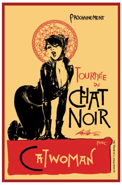 mundofantasma:  Desenho do Dia. Catwoman, por Rafael Albuquerque (link para a nossa livraria online), em homenagem a Le Chat Noir de Theophile Steinlen.