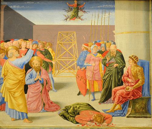 """"""" Ángeles sujetando santos muy mal """" (Il santo scognati per la péssima sujezionni dil cherubini torpi) Bennozzo Gozzoli"""