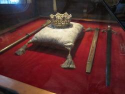Her crown & scepter; His sword