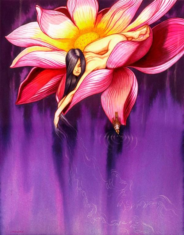 Illustration Art Girl Tree Painting Water Heart Flowers Bird Tiger Butterfly Fairy Deer
