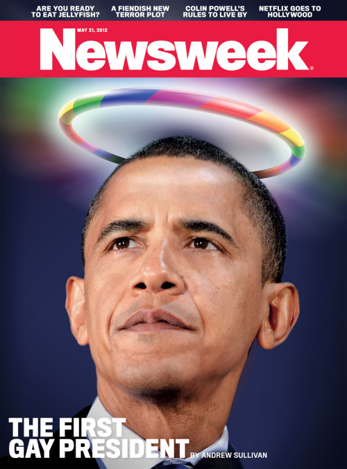 Here's our cover this week, featuring a rainbow-haloed Barack Obama—America's first gay president!