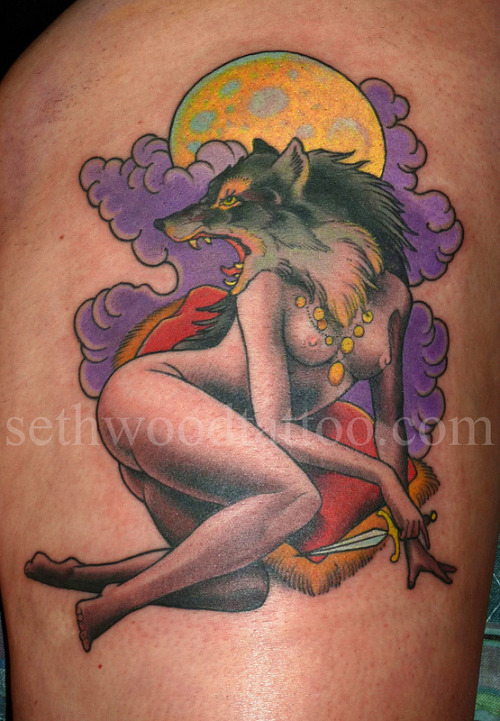 Look out! She's got a knife!  Made last time 'round at Portland's Scapegoat Tattoo, 2011.<br /> Coming up… I'll be tattooing at the Ink-n-Iron Convention aboard the Queen Mary in Long Beach, CA with Saved Tattoo this June 8-10.<br />