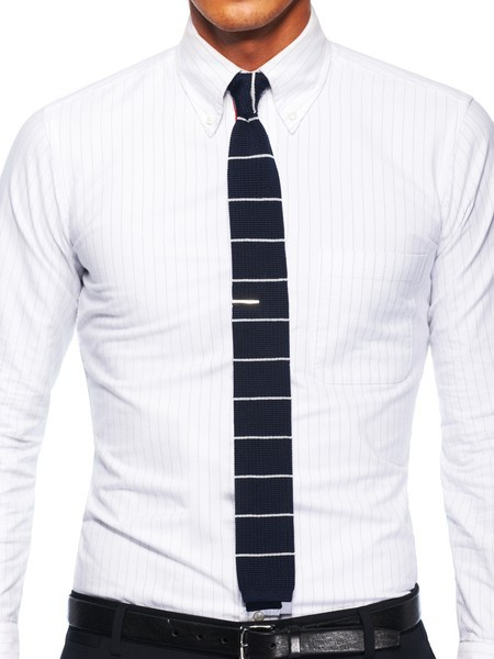 thetieguy:</p> <p>this is a REALLY REALLY good example on how to wear a tie bar with a knit tie. thanks park & bond. take note people!<br />
