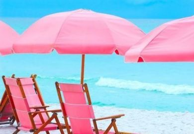 Beach Chair And Umbrella On The Beach