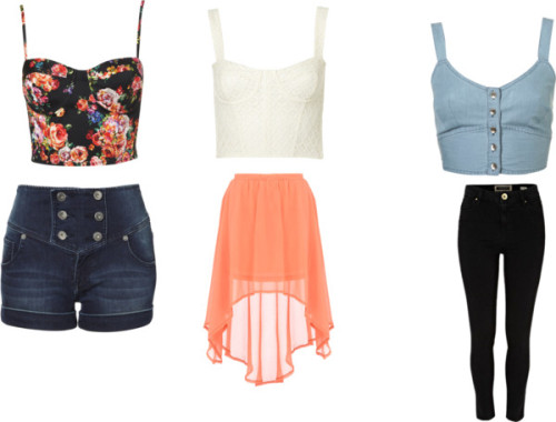 Cropped Corsets #1 by thehautebunny featuring denim topsFloral shirt, $60Topshop denim top, $48Lace crop top, $45Dorothy Perkins high waisted skirt, $45Lipsy high waisted short shorts, £35High waisted skinny jeans, £30