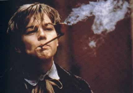 """Leonardo DiCaprio plays the French Poet Arthur Rimbaud in the movie """"Total Eclipse""""…..smoking his pipe……:) Edgar"""