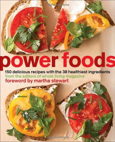 Power Foods: 150 Delicious Recipes with the 38Healthiest Ingredients The Editors of Whole Living Magazine Many of our favorite ingredients—such as berries, tomatoes, and nuts—are among the healthiest foods on earth, and by simply incorporating more of them into our everyday meals, we can all lead healthier lives. Here are 150 fantastic ways to help you do just that. Organized into chapters on breakfast, snacks, sandwiches, soups, salads, main dishes, side dishes, and desserts, the recipes are accompanied by simple instructions and beautiful photographs to keep you inspired to eat well at any time of the day. Stay motivated with tempting recipes such as: * Breakfast: Pecan Pancakes with Mixed Berry Compote; Mushroom and Scallion Frittata * Starters and Snacks: Sweet Potato Hummus; Beet Chips * Sandwiches and Wraps:** Salmon Salad and Curried Egg on Multigrain Bread; Kiwifruit Summer Roll * Soups and Stews: Golden Pepper Soup; Chili with Chicken and Beans * Salads: Quinoa and Corn Salad with Pumpkin Seeds; Endive, Avocado, and Grapefruit Salad * Main Dishes: Citrus-Roasted Salmon with Spring Pea Sauce; Soba Noodle, Tofu, and Vegetable Stir-fry; Turkey Cutlets with Tomatoes and Capers * Side Dishes: Cauliflower and Barley Salad with Toasted Almonds; Edamame Succotash * Desserts: **Lemon Cream with Blackberries; Double Dark Chocolate and Ginger Biscotti Beyond these wonderful recipes, the editors of Whole Living magazine include research-backed information about the health benefits and disease-fighting properties of 38 power foods, along with nutritional data and helpful tips on storing, preparing, and cooking them. In this one-stop resource, you'll learn all about stocking a healthy pantry, eating seasonally, understanding food labels, and when it's best to splurge for organic ingredients. These 38 Power Foods are: · Asparagus · Artichokes · Avocados · Beets · Bell Peppers · Broccoli · Brussels Sprouts · Carrots · Kale · Mushrooms · Spinach · Sweet Potatoes · Swiss Cha